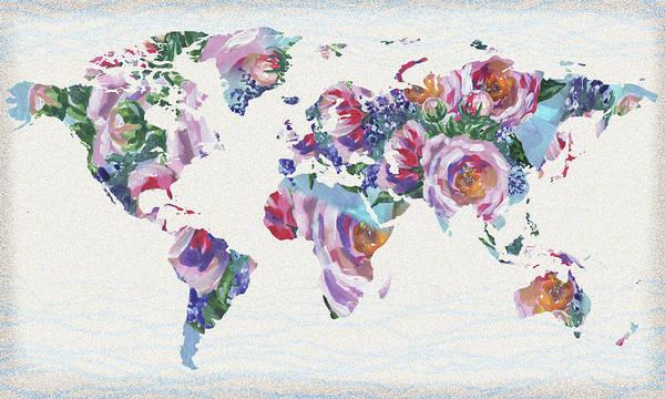 Painting - Roses And Blue World Map by Irina Sztukowski
