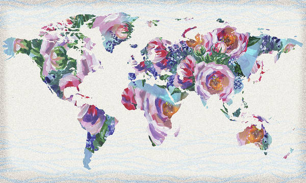Wall Art - Painting - Roses And Blue World Map by Irina Sztukowski