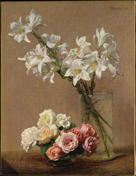Wall Art - Painting - Roses And Lilies 1888 by Henri Fantin Latour