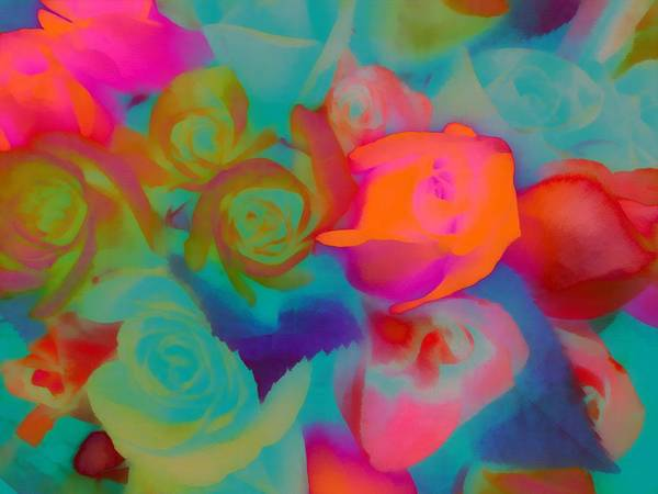 Digital Art - Roses Beautiful Rainbow Assortment by Catherine Lott