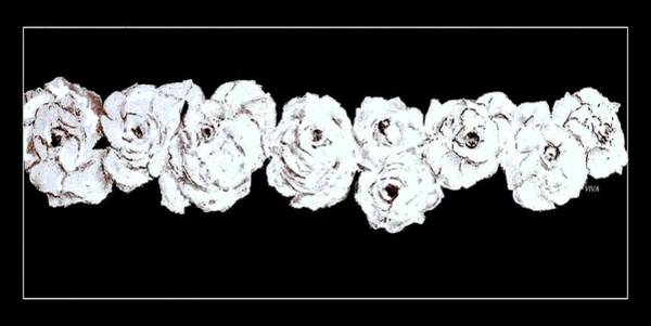 Painting - Roses Blanche Sur Noir by VIVA Anderson