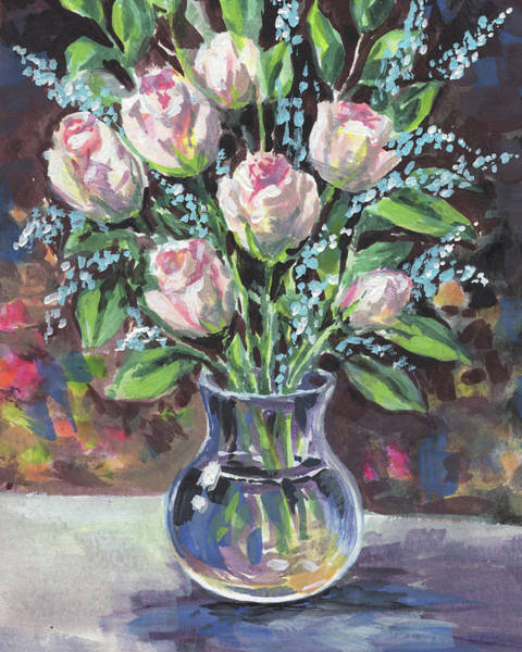 Colored Glass Painting - Roses Bouquet In Glass Vase Floral Impressionism  by Irina Sztukowski