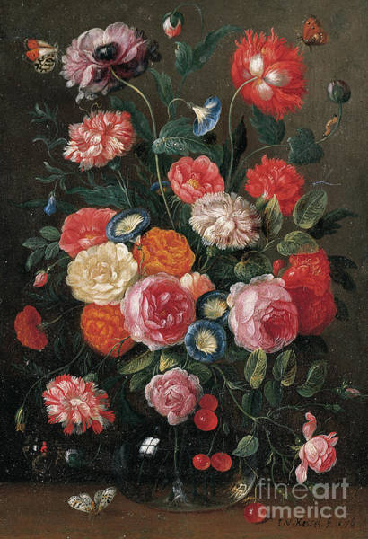 The Elder Painting - Roses, Carnations, Morning Glory, A Poppy And A Sprig Of Cherries In A Glass Vase by Jan van the Elder Kessel