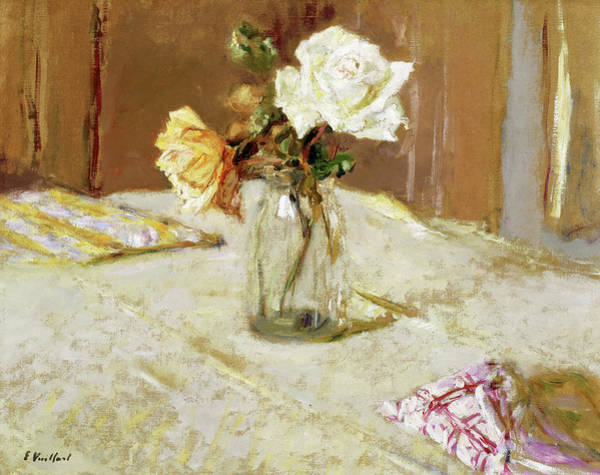 Wall Art - Painting - Roses In A Glass Vase, 1919 by Edouard Vuillard