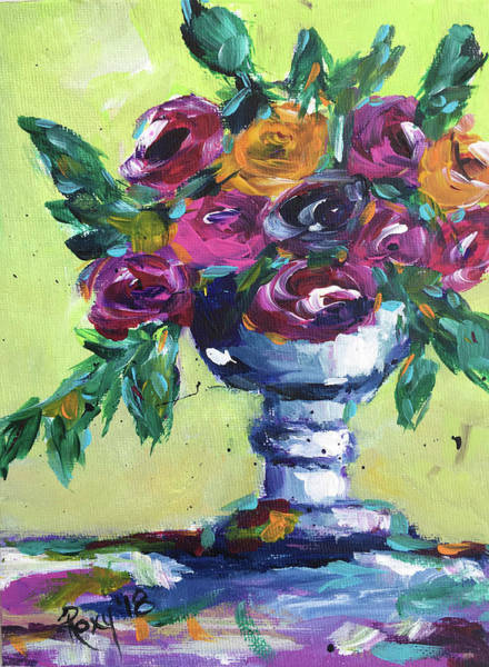 Impressionism Painting - Roses In A Goblet by Roxy Rich
