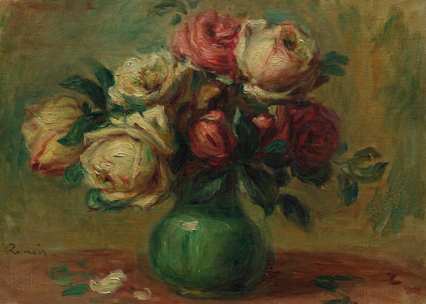 Wall Art - Painting - Roses In A Vase, 1890 by Pierre-Auguste Renoir