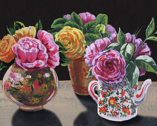 Wall Art - Painting - Roses In Three Vases Floral Impressionism  by Irina Sztukowski