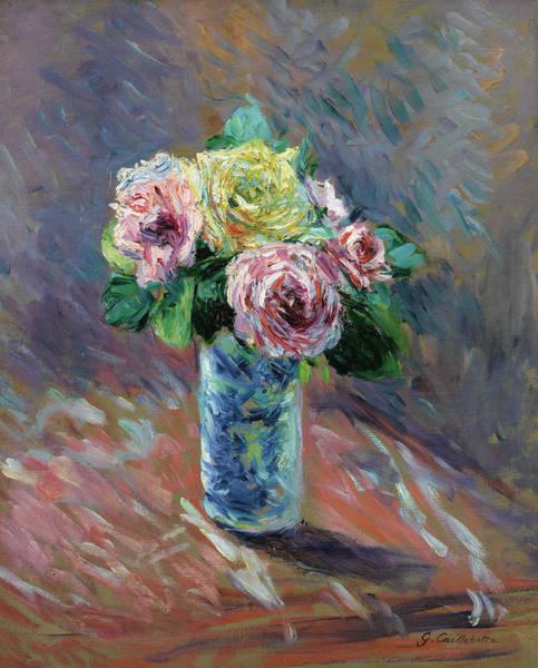 Wall Art - Painting - Roses Jaunes Et Rouges Dans Un Vase De Cristal by Gustave Caillebotte