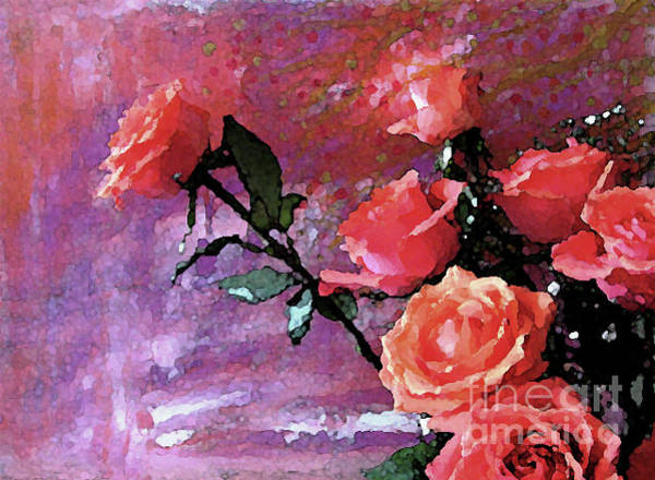 Mixed Media - Roses Of Orange And Pink by Corinne Carroll