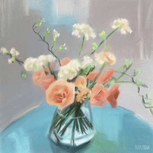 Peach Flower Wall Art - Painting - Roses Peach Blue Grey by Beverly Brown