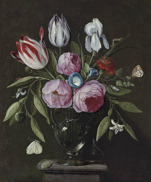 Painting - Roses, Tulips, An Iris And Other Flowers, In A Glass Vase On A Stone Plinth by Jan van Kessel the Elder