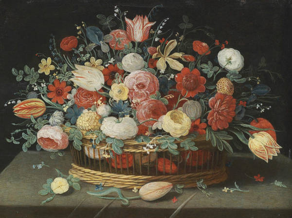 Painting - Roses, Tulips, Irises And Other Flowers In A Basket, On A Draped Table Strewn With Flowers And Folia by Jan van Kessel the Elder