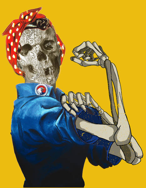 Painting - Rosie The Riveter Vintage Skull by Tony Rubino