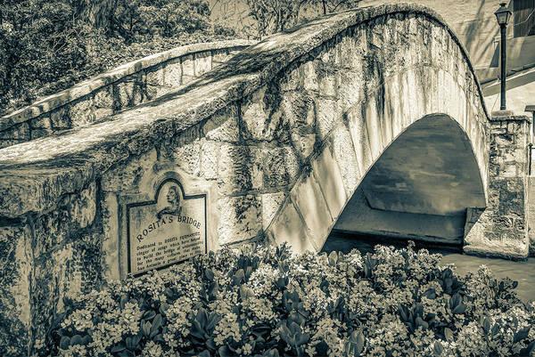 Photograph - Rosita's Bridge - San Antonio Texas Riverwalk - Sepia by Gregory Ballos