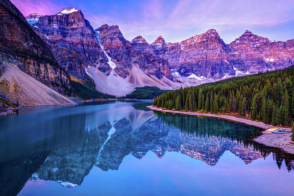 Moraine Lake Photograph - Rosy Clouds Before Sunrise At Moraine by Wan Ru Chen