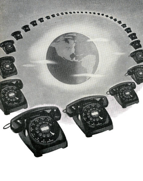 Archival Digital Art - Rotary Telephones And Globe by Graphicaartis
