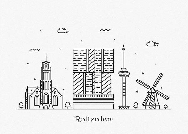Drawing - Rotterdam Cityscape Travel Poster by Inspirowl Design