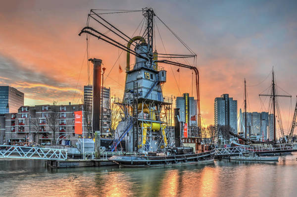 Photograph - Rotterdam, Leuvehaven Under A Blood-red Sky by Frans Blok