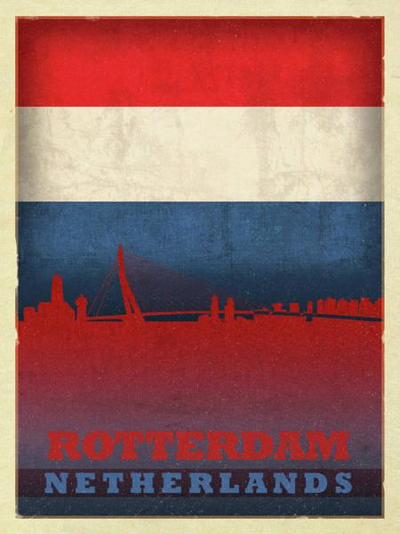 Wall Art - Mixed Media - Rotterdam Netherlands City Skyline Flag by Design Turnpike