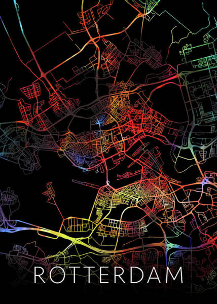 Wall Art - Mixed Media - Rotterdam Netherlands Watercolor City Street Map Dark Mode by Design Turnpike