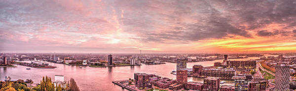 Photograph - Rotterdam Sunset Panorama by Frans Blok