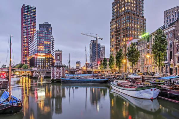 Photograph - Rotterdam Wijnhaven In The Blue Hour by Frans Blok
