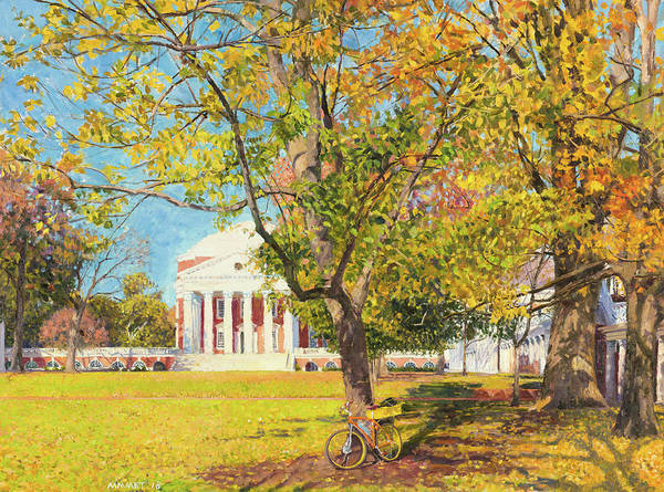 Wall Art - Painting - Rotunda And Bicyle, Autumn by Edward Thomas