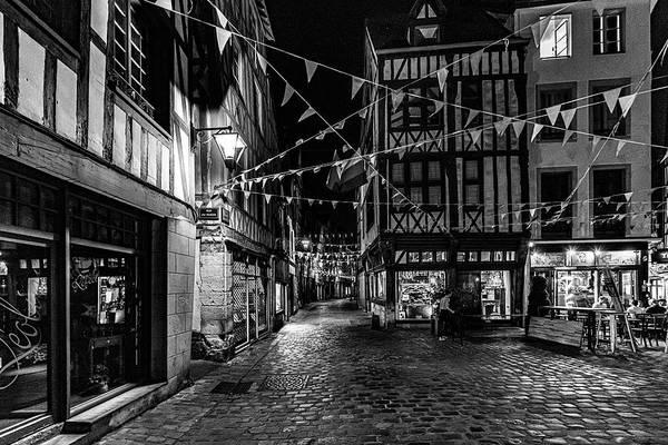 Photograph - Rouen At Night Monochrome by Randy Scherkenbach