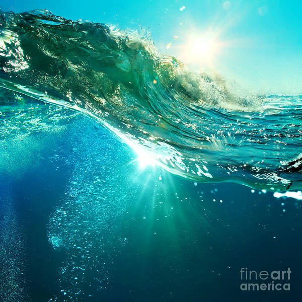 Wall Art - Photograph - Rough Colored Ocean Wave Breaking Down by Willyam Bradberry