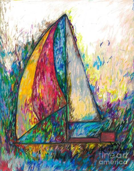 Drawing - Rough Sailing by Jon Kittleson