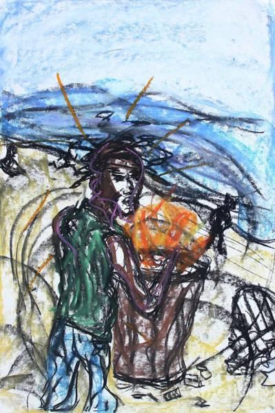Pastel - Rough Sketch Venice Beach 2019 by Odalo Wasikhongo