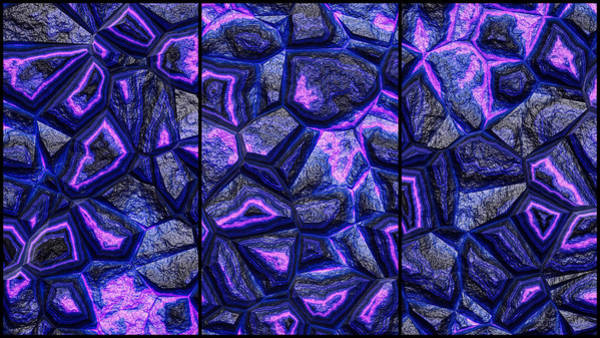 Digital Art - Rough Stone Blue Wall Triptych by Don Northup