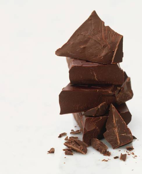 Break Up Photograph - Roughly Broken Dark Chocolate Pieces by Ian O'leary