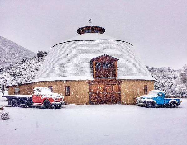 Photograph - Round Barn With Vintage Trucks  by Gia Marie Houck