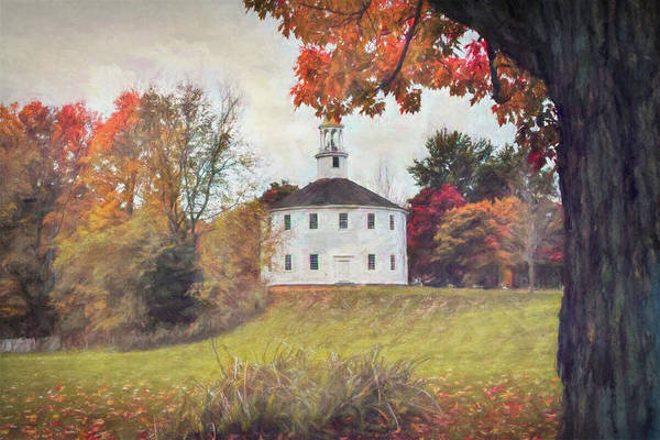 Photograph - Round Church In Vermont Autumn by Jeff Folger