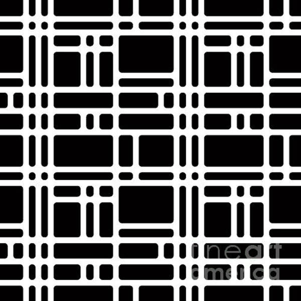 Wall Art - Digital Art - Rounded Squares Black And White by Sylverarts Vectors