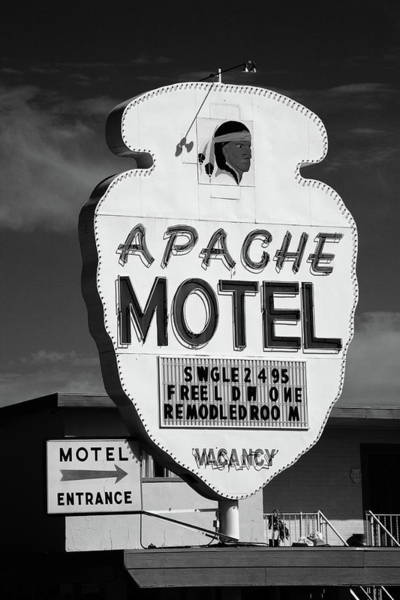 Photograph - Route 66 - Apache Motel 2012 Bw by Frank Romeo