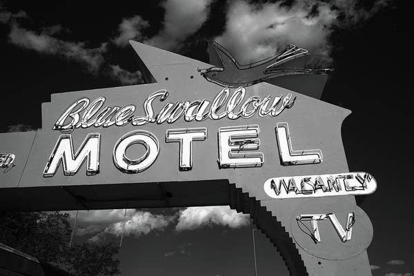 Photograph - Route 66 - Blue Swallow Motel 2010 Bw by Frank Romeo