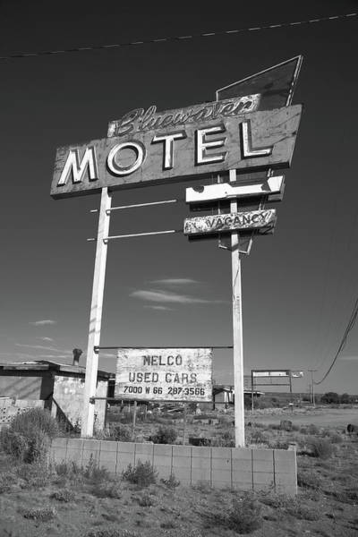 Photograph - Route 66 - Bluewater Motel 2012 Bw by Frank Romeo