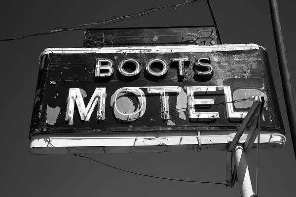 Photograph - Route 66 - Boots Motel 2010 Bw by Frank Romeo