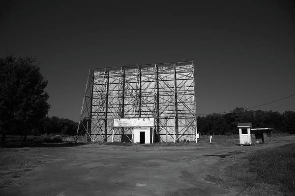 Photograph - Route 66 Drive-in Movie 2012 Bw by Frank Romeo