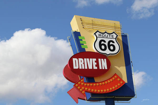 Photograph - Route 66 Drive-in Sign by Gary Gunderson