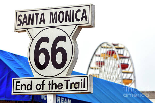 Pier 66 Photograph - Route 66 End Of The Trail At The Santa Monica Pier by John Rizzuto