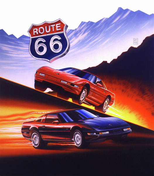 Wall Art - Painting - Route 66 Firebird And Corvette by Garth Glazier