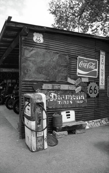 Photograph - Route 66 Garage And Pump 2012 Bw by Frank Romeo