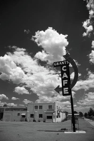 Photograph - Route 66 - Grants Cafe Neon 2012 Bw by Frank Romeo