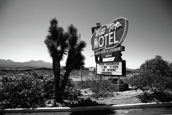 Photograph - Route 66 - Hill Top Motel 2012 Bw by Frank Romeo