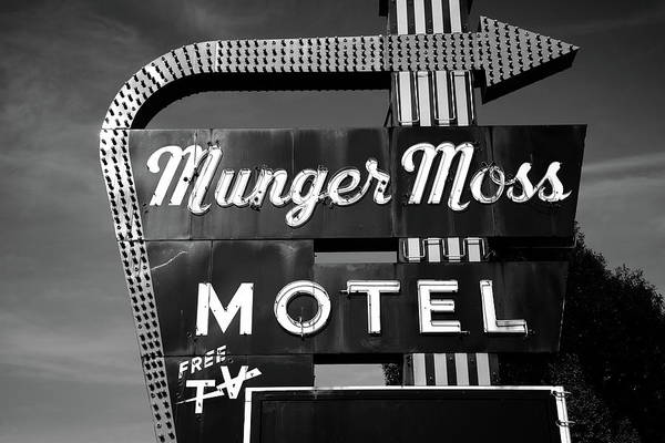Photograph - Route 66 - Munger Moss Motel 2010 Bw by Frank Romeo
