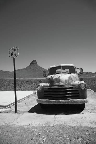 Photograph - Route 66 - Old Chevy And Shield 2012 Bw by Frank Romeo