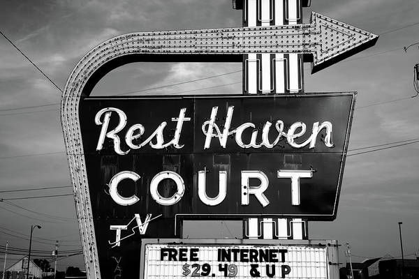 Photograph - Route 66 - Rest Haven Motel 2010 Bw by Frank Romeo
